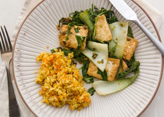 Stir-Fry Bok Choy and Carrot and Rice Pilaf