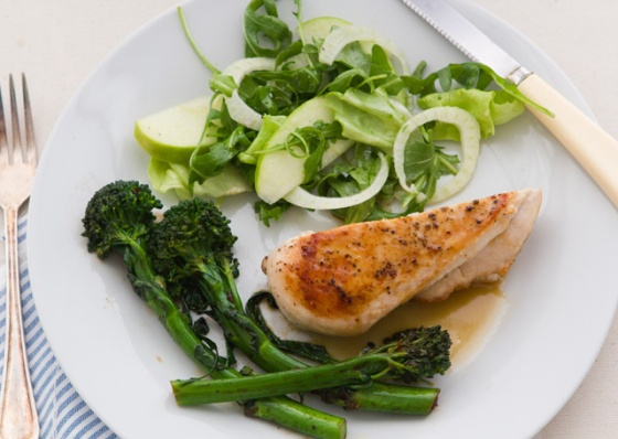 Cider Glazed Chicken with Broccoli Rabe and Apple-Fennel Salad