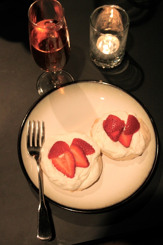 Pink Champagne and Mini Strawberry Pavlovas