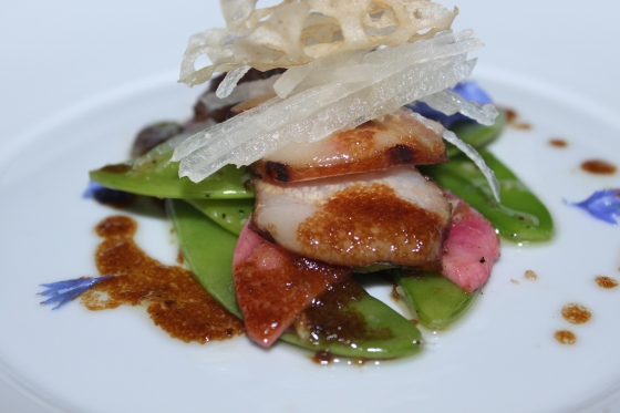 pork jowl with peas, carrots, edible flowers, and locus chips
