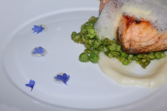 grilled skuna salmon with peas and lemon gellee