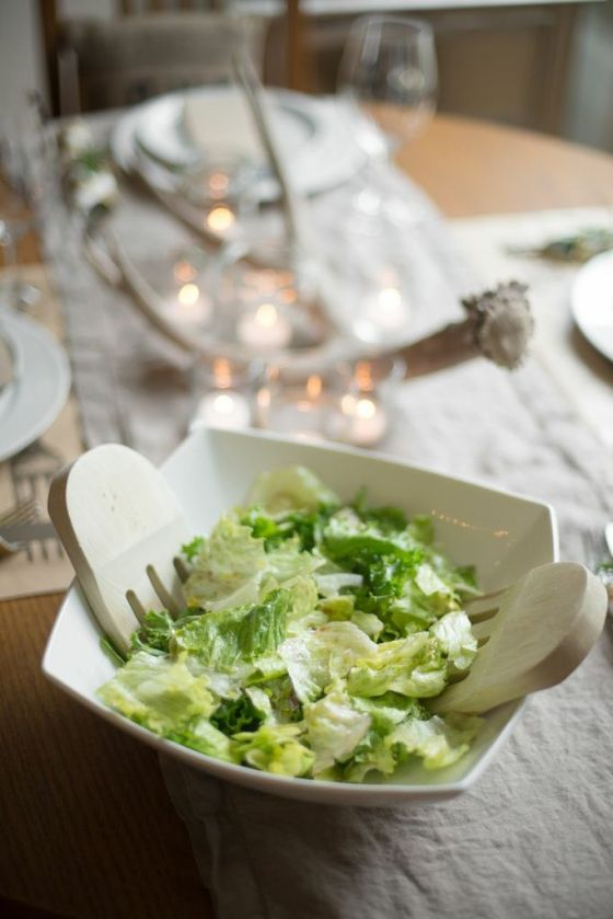 You can make this salad with any type of lettuce. We had some romaine, butter lettuce, and iceberg from the garden so that is what I used, and it was delicious.